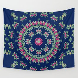 Blue floral ornament Wall Tapestry