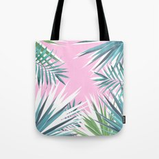 Tropical leaves pink and turquoise Tote Bag