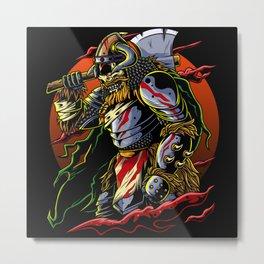 Samurai Viking | Warrior Ronin Berserk Armor Axe Metal Print
