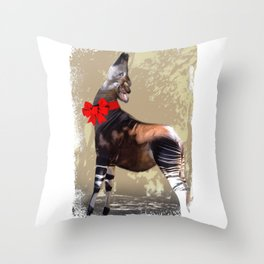 Okapi  with Red Bow Throw Pillow