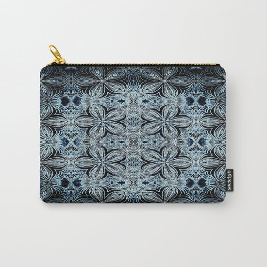 Blue & Black Etched Delicate Flowers Carry-All Pouch