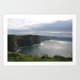 Sun Coming out over Cliffs of Moher Art Print