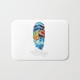 Colorful Feather Art -  Blessing - By Sharon Cummings Bath Mat