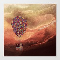pixar Canvas Prints featuring Pixar Up! in the Clouds by foreverwars