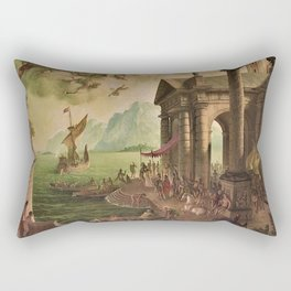 Ulysses Farewell to Penelope Seaport Landscape by Rex Whistler Rectangular Pillow