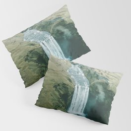 Skogafoss Waterfall, Iceland Travel Artwork Pillow Sham