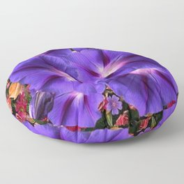 PURPLE MORNING GLORIES FLORAL ART Floor Pillow