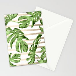 Simply Tropical White Gold Sands Stripes and Palm Leaves Stationery Cards