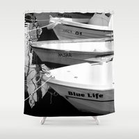 boats Shower Curtains featuring boats by habish