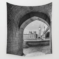 politics Wall Tapestries featuring Big ben and bridge by Solar Designs