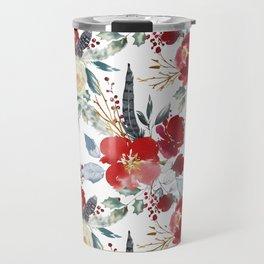 Botanical red ivory teal watercolor roses floral Travel Mug