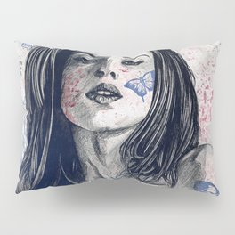 Nothing Violates This Nature: Blue (erotic drawing, nude butterfly girl) Pillow Sham
