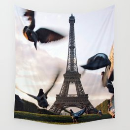Paris Eiffel tower and flight of birds Wall Tapestry