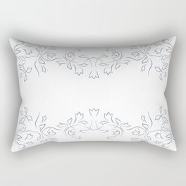 Grayish Blue White Floral Border Rectangular Pillow