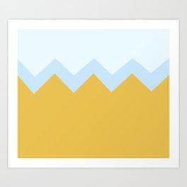 Geometric abstract - zigzag, orange and blue. Art Print