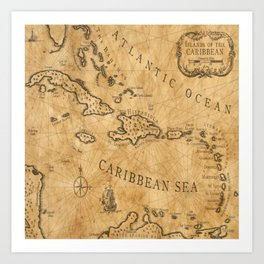 Old Nautical Map Carribeans Art Print