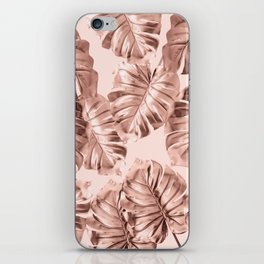 Rose Gold Monstera Leaves on Blush Pink 2 iPhone Skin