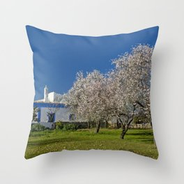 An Algarve almond orchard in Spring Throw Pillow