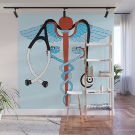 medical caduceus and stethoscope Wall Mural