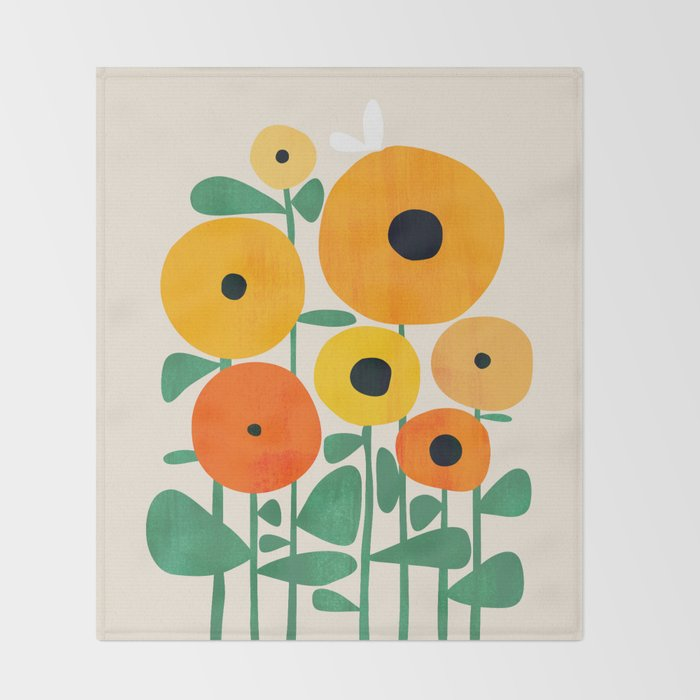 Sunflower and Bee Throw Blanket