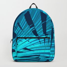 Tropical Blue Fan Palm Leaves Abstract Design Backpack