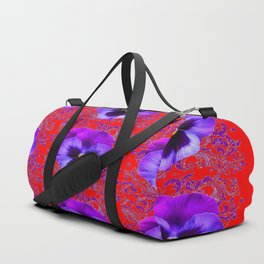 DECORATIVE PURPLE PANSY FLOWERS ON RED COLOR Duffle Bag