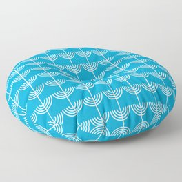 Hanukkah Chanukah Menorahs Chanukkiahs Pattern in White and Dennis Blue Floor Pillow