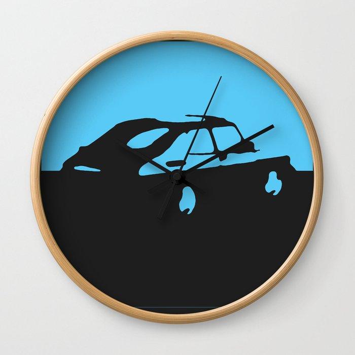 Saab 900 classic, Light Blue on Black Wall Clock