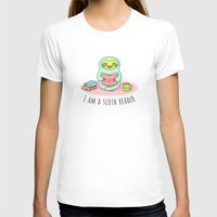 reading T-shirts featuring Reading Sloth by Sombras Blancas Art & Design