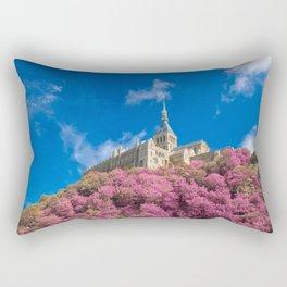 Mont Saint-Michel Abbey - Pink Fantasy Rectangular Pillow