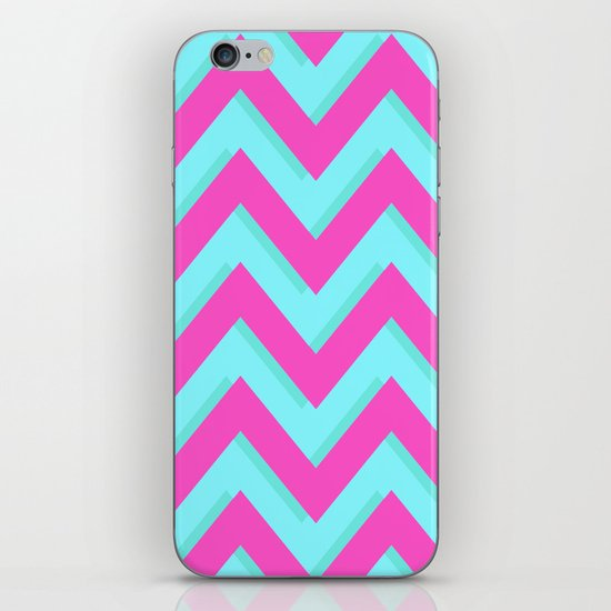 3D CHEVRON TEAL & PINK iPhone & iPod Skin