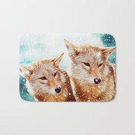 Lovely Wolf Couple Under the Snow Bath Mat