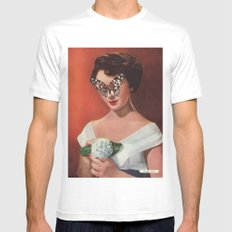 ELIZABETH TAYLOR.  (PIN-UPS). MEDIUM White Mens Fitted Tee
