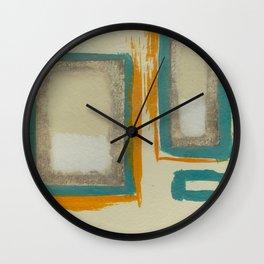 Soft And Bold Rothko Inspired - Modern Art - Teal Blue Orange Beige Wall Clock