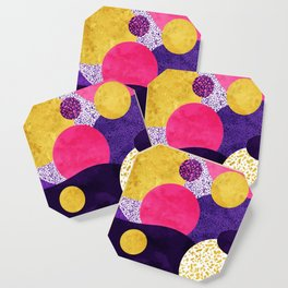 Terrazzo galaxy purple night yellow gold pink Coaster
