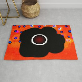 Hole and black flower Rug