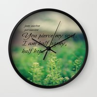 jane austen Wall Clocks featuring Agony and Hope Jane Austen by KimberosePhotography