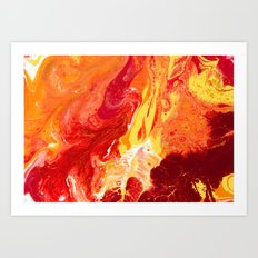 Fire 2 | Red, Orange,Yellow, Gold, and White Fluid Acrylic Abstract Painting Art Print