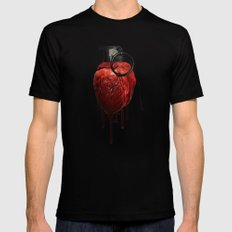 Heart Grenade Black Mens Fitted Tee LARGE