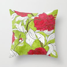 red peonies Throw Pillow