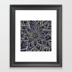 Cute Retro Gold abstract Flower Drawing  geometric Framed Art Print