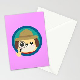 Dog detective with magnifying glass Stationery Cards