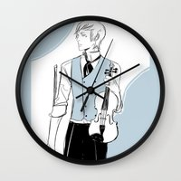violin Wall Clocks featuring Violin by Cassandra Jean