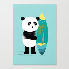 Surf along with the panda. Canvas Print