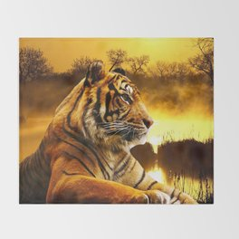 Tiger and Sunset Throw Blanket