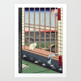 Utagawa Hiroshige Japanese Woodblock Cat Print Art Print