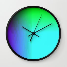 Cyan Green Purple Red Blue Black ombre rows and column texture Wall Clock