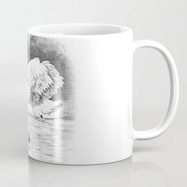 Vintage black and white elegant bird swan family Coffee Mug
