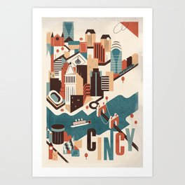 A Day in Downtown Cincy Art Print