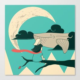 Did you see the whale in flight Canvas Print